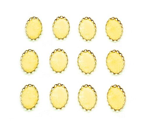 12 Bright Goldtone Lace Filigree 18mm x 13mm CAMEO PENDANT or Earrings Settings