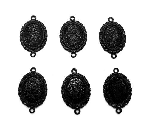 6 BLACK METALLIC MELANIE Style 18mm x 13mm CAMEO PENDANT CONNECTORS w/ 2 Loops