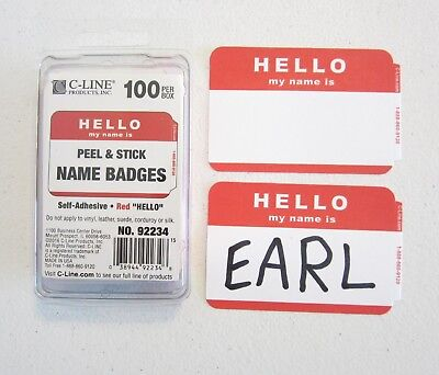 100 Red Hello My Name Is Name Tags Labels Badges Stickers Peel Stick Adhesive