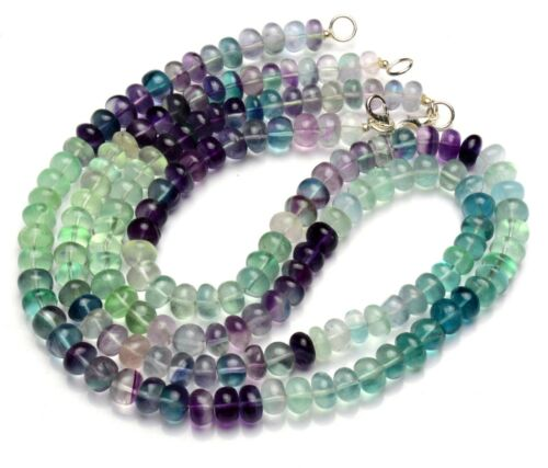 """Natural Gem Multi Color Fluorite 8.5MM Size Smooth Rondelle Beads 19"""" Necklace"""
