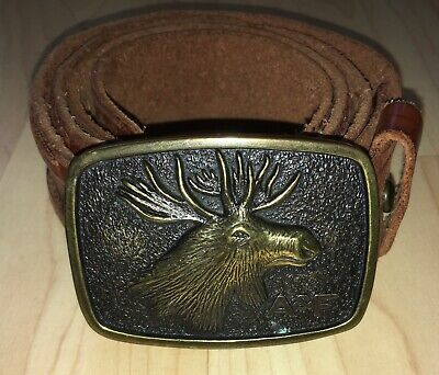 A&F Abercrombie & Fitch Moose Head Belt Buckle & Belt Leather Size 34