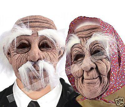 80s 90s Wrinkly Old Woman Man Mask Creepy Couple Haloween Fancy Dress Costume