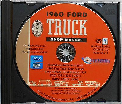 1960 Ford F-series Trucks F100 F150 F250 F350 Shop Service Manual On Cd
