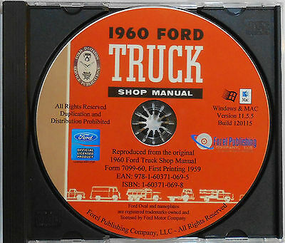 1960 Ford F-series Trucks F100 F150 F250 F350 Shop Service Manual On Cd