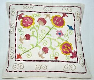 P12-NEW-Pillowcase-Sham-Hand-Made-Silk-Embroidered-Floral-Antique-Vintage-Suzani