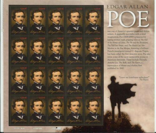 SCOTT #4377 – 2009 42c Edgar Allan Poe  - FULL SHEET 20 STAMPS