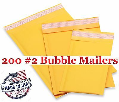 200 2 8.5x12 Kraft Bubble Mailers Envelopes Shipping Bags -free Shipping