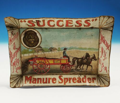 Antique Kemp & Burpee Success Manure Spreader Change Tip Tray Tin Litho Syracuse
