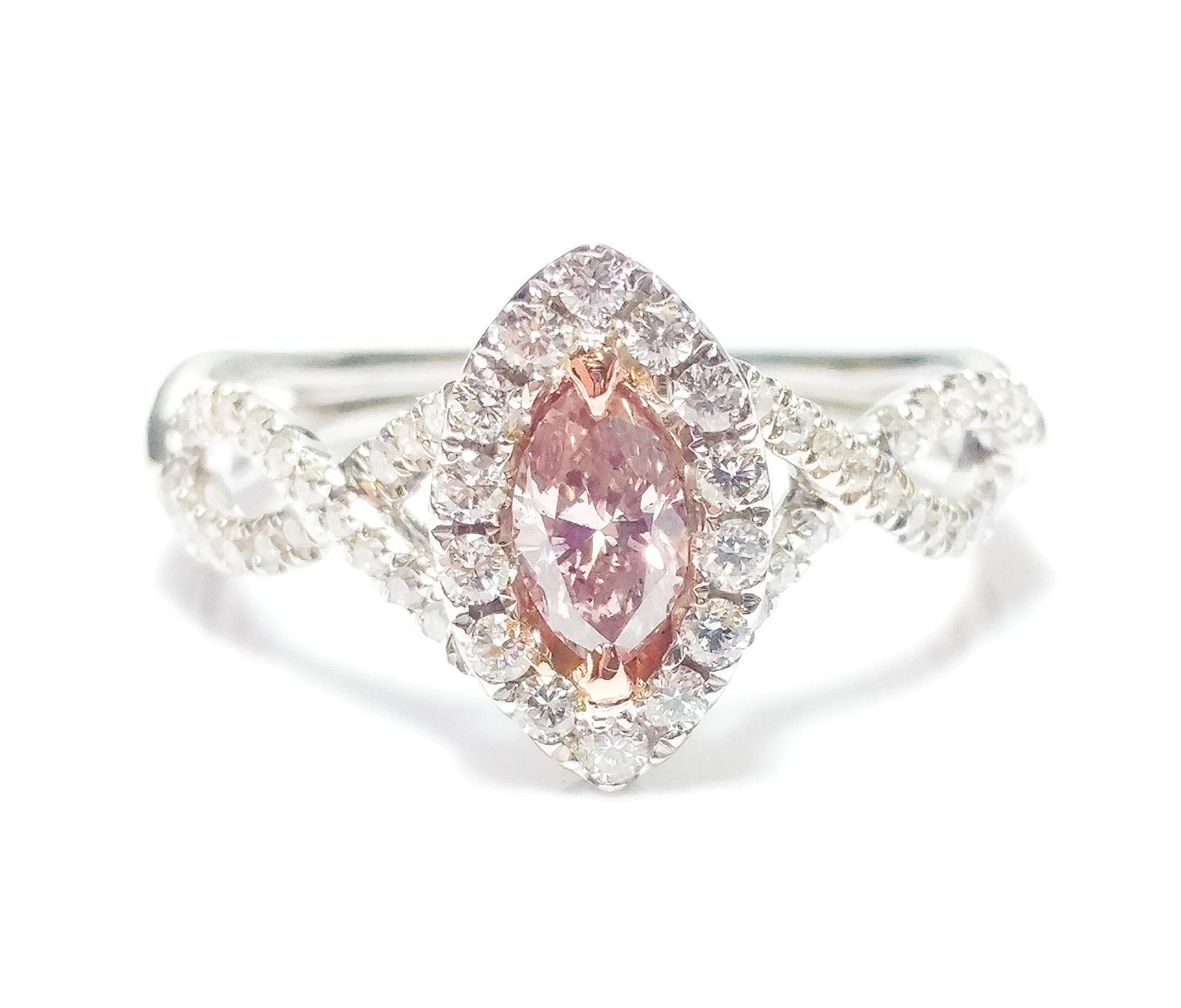 0.86ct Fancy Pink Diamond Engagement Ring GIA Marquise Hallo 18K White Gold Si1 3