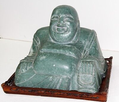 """Chinese Hotei Laughing Buddha Soapstone Carving Statue 6.5"""" H...WOW!!!"""