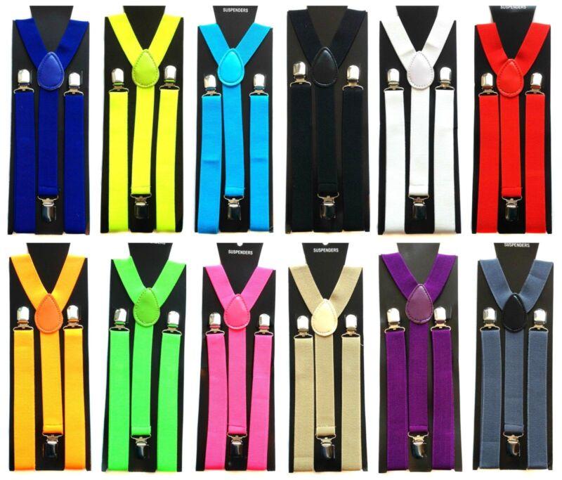Gents Mens 25mm Wide Adjustable Braces Suspenders Elastic Plain Colours Classic