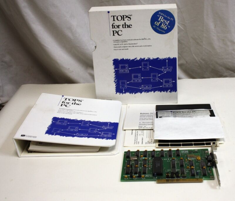 Vintage 1985/6 Centram TOPS for the PC with ISA Localtalk Appletalk Card / NIC