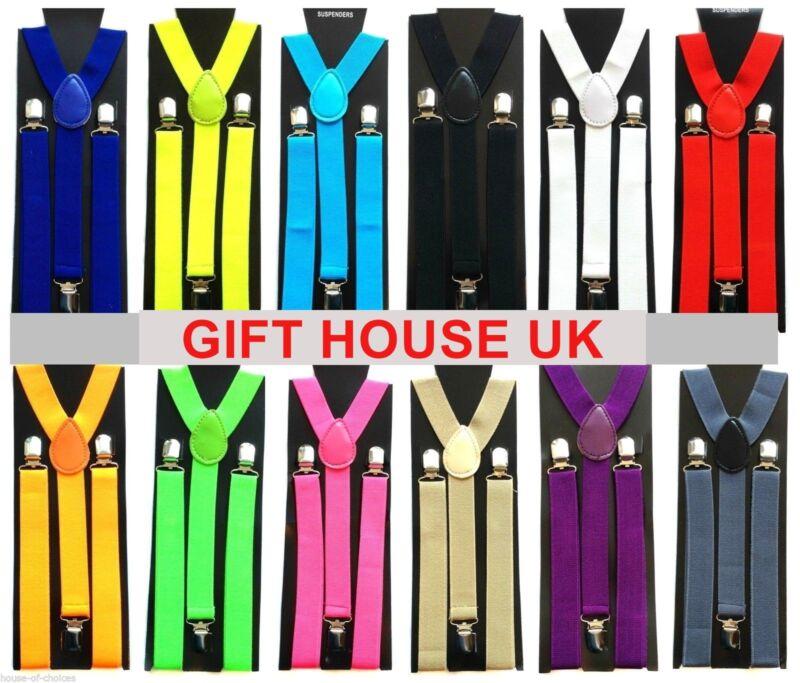 Adjustable Braces Mens Womens Unisex Trouser Elastic Y-back Suspenders Clipon B3