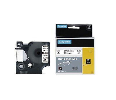 Dymo Compatible Rhinopro 24mm Heatshrink Cable Label Tube 1x 5 Blkwht 1805443