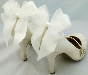 Ivory-Satin-Shoe-Clips-Bow-Clips-4-Shoes-Burlesque-Heel-Bows-Satin-Organza