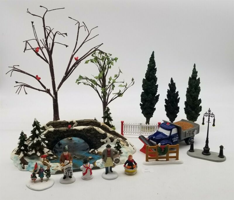 Thriftchi ~ Dept 56 Trees, Snow Removal Truck, People, Village Mill Creek Bridge