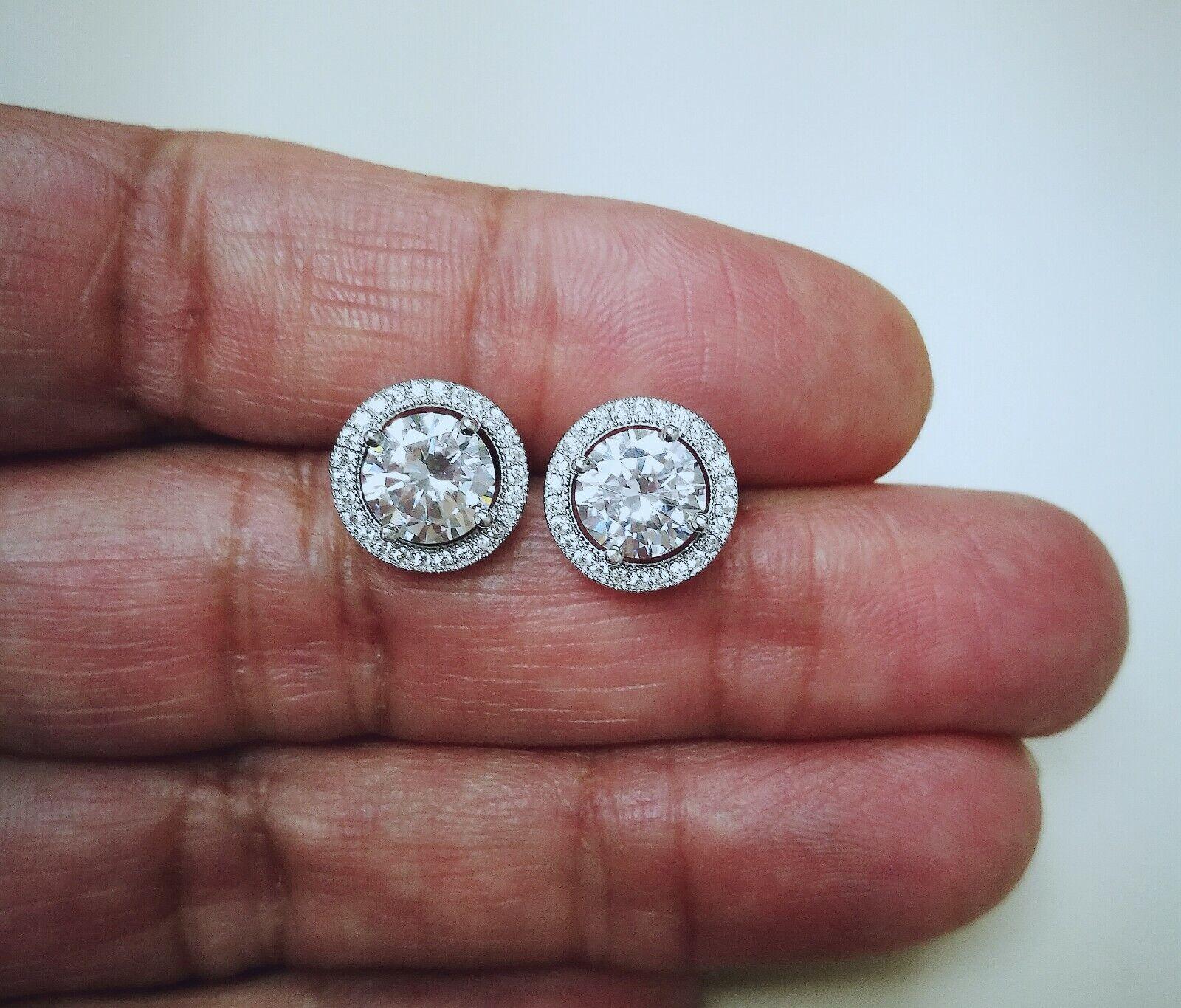 3 Ct Round Diamond Stud Earrings 14k White Gold over Womens Halo Earrings