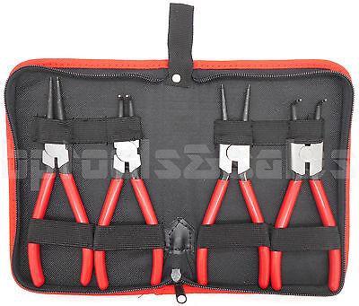 "4pcs Heavy Duty 7"" Circlip Plier Snap Ring Plier External Internal Kit w/ Pouch"