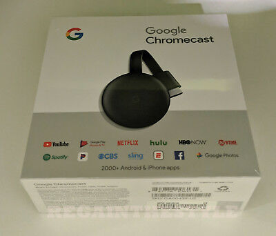 Google Chromecast 3rd Gen Digital HDMI Media Streaming Device (2018 Version) NEW