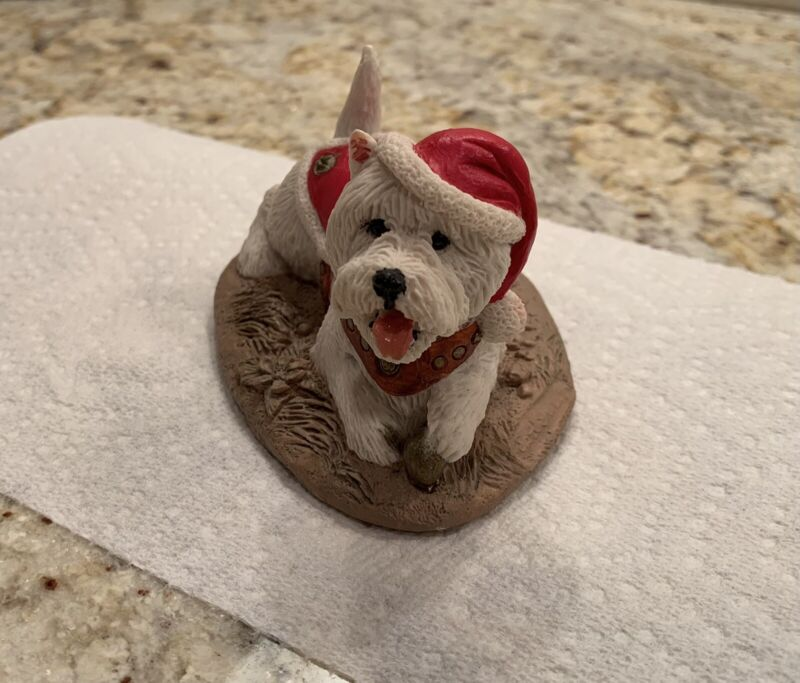 Hand painted Santa Westie from Charmstone Cold Cast Marble