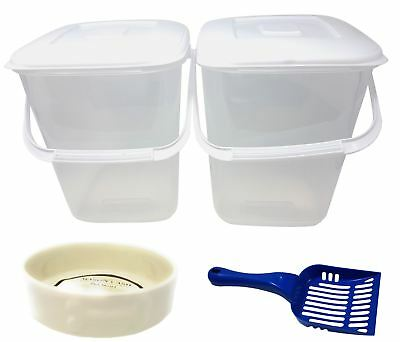 5 PCE PET SET PLASTIC FOOD STORAGE TUBS BLUE SCOOP CREAM PORCELAIN PAW DOG BOWLS