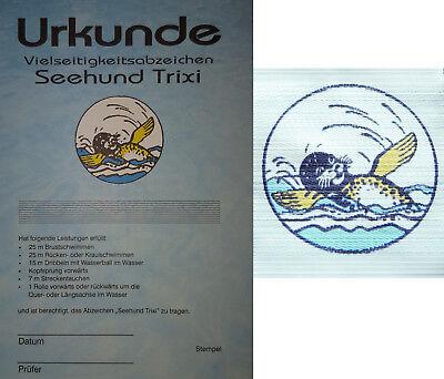 Schwimmabzeichen Seehund Trixi Aufnäher Urkunde