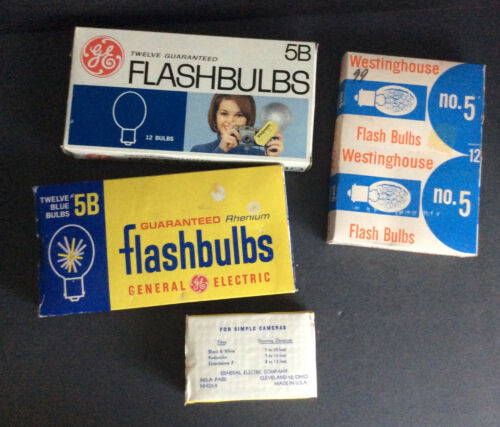 Lot of Vintage Flashbulbs GE 5 & 5B (Rhenium), Westinghouse 5 Types