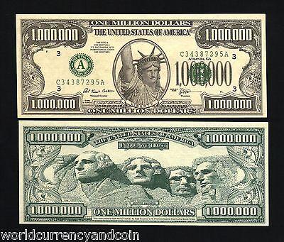 USA 1000000 MILLION DOLLARS SOUVENIR 1996 STATUE OF LIBERTY UNC FUN BILL MONEY