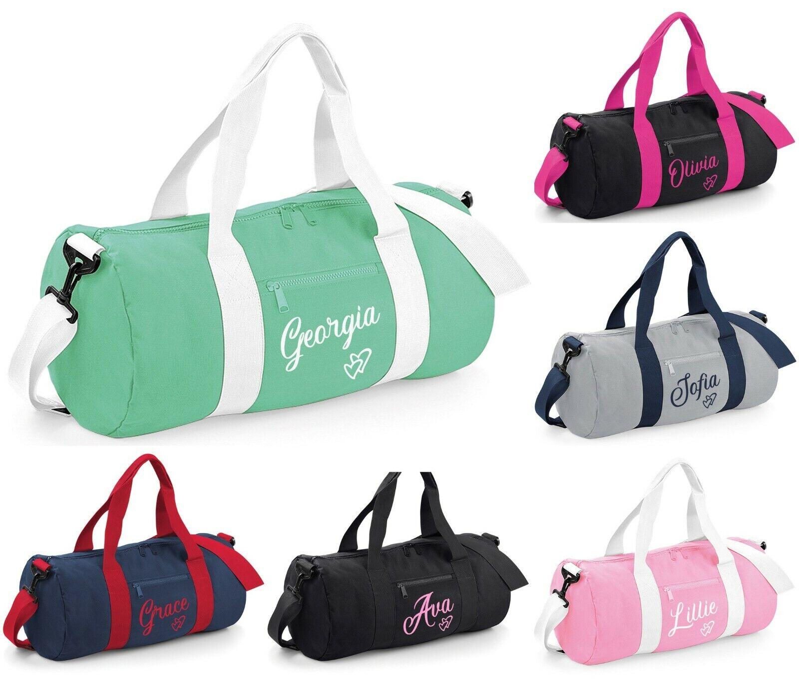 Personalised Heart Name Kids Barrel Bag Sports Gym Dance PE School Duffle