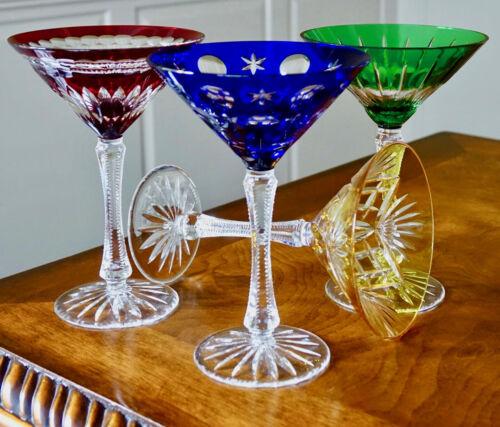 FABERGE NA ZDOROVYE MARTINI GLASSES, MULTI COLOR CASED  CRYSTAL