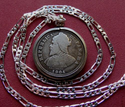 "1904 Panama .900 Silver Antique Coin Pendant, Silver Figaro 3&2 Link Chain 26"""