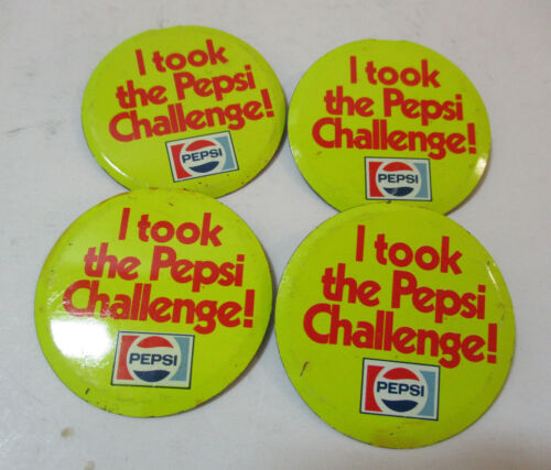 Vintage Pepsi I took the Pepsi Challenge, Fold Over Pin  Pinback Button Lot of 4