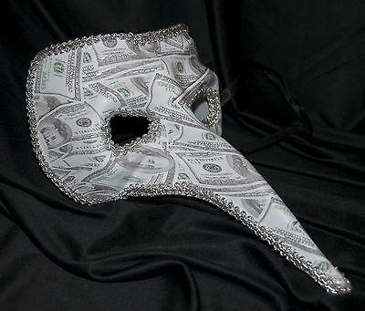 Herren Lange Nase Maskerade Maske mit Dollar Bill Aufdruck Halloween (Lange Nase Maskerade Maske)