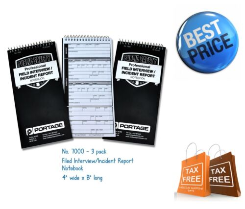 3x Professional Field Interview Notebook Police Incident Notebook Reports Spiral