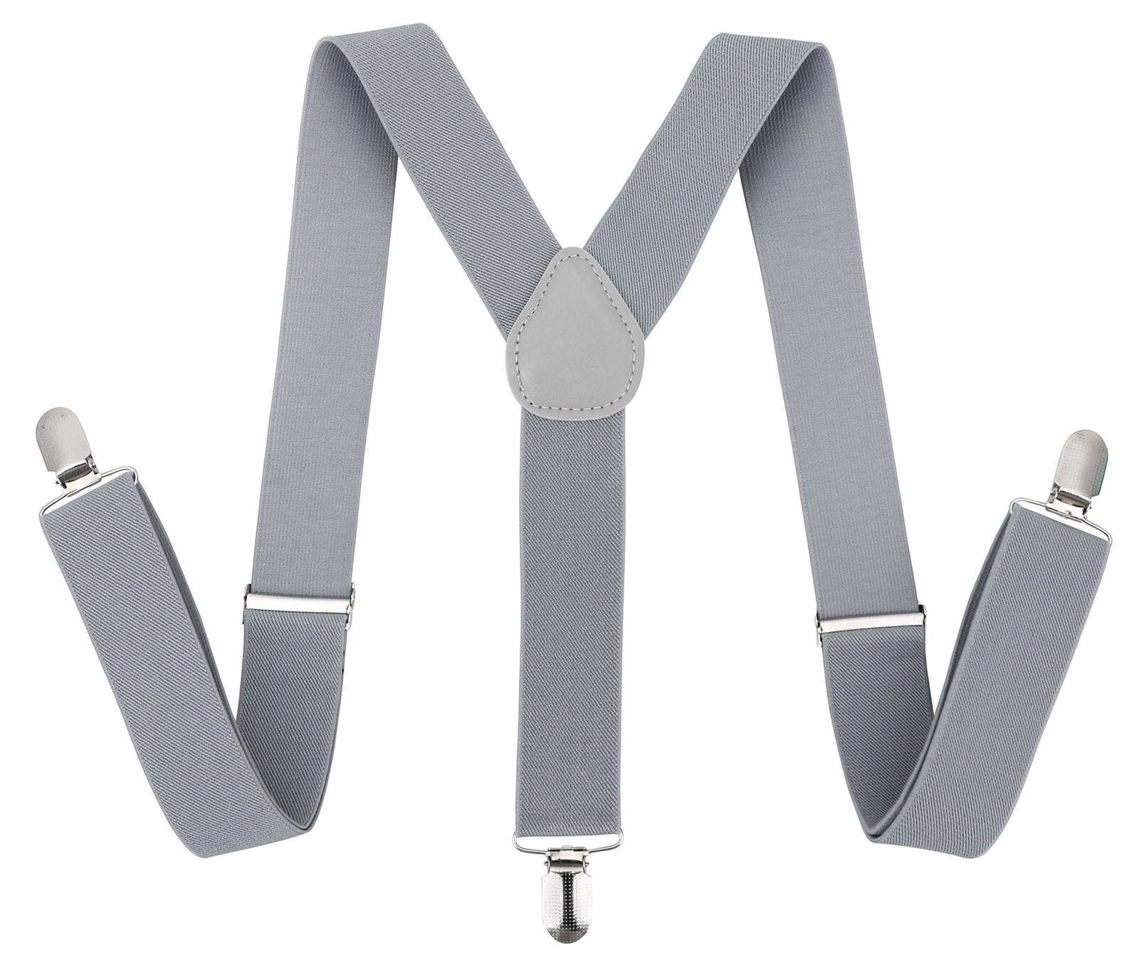 Mens Braces Clip-on Suspenders Y Back Heavy Duty Biker Snowb