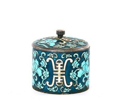 Old Korean Sterling Silver Enamel Salt Cellar Box Bowl Calligraphy Flower Marked