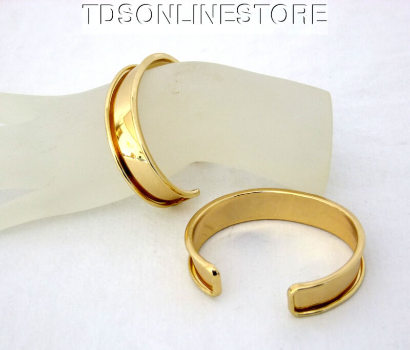 Gold Plated Channeled Bracelet Cuff Blanks 1/2 Inch Package Of 2