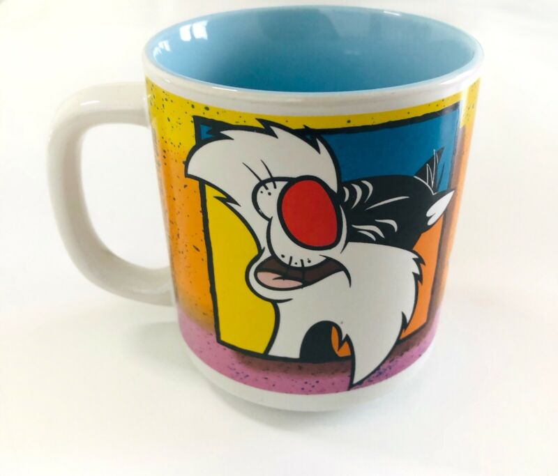 Looney Tunes Sylvester Cat Six Flags Mug Vintage 1992 Warner Bros.