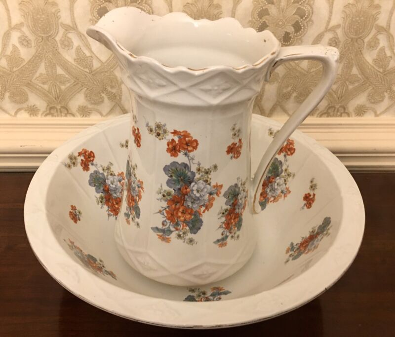 """1930s Pitcher & Bowl Burgess and Leigh England Burleigh Ware Floral Design 12"""""""