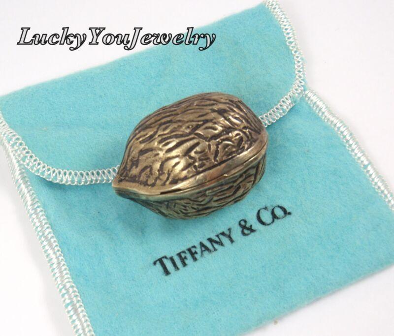 RARE Vintage Tiffany & Co Sterling Silver Vermeil Walnut Trinket Pill Box ITALY