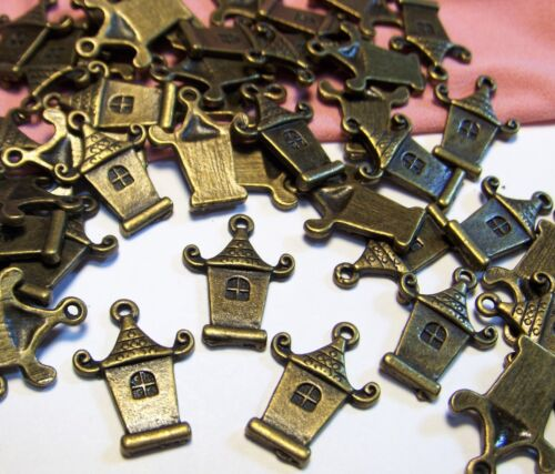 BRONZE PAGODA CHARMS-STRUCTURE-BUILDING-ASIA-48 PCS-DROPS-JEWELRY MAKING LOT