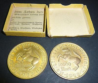 Notgeld Provinz Westfalen 10.000 + 50 Millionen Mark 1923 Freiherr von Stein