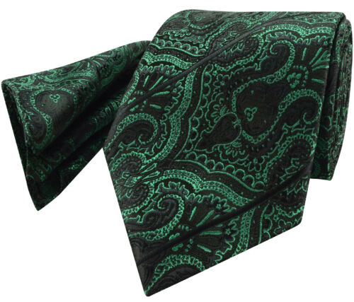 Emerald Green Tie NEW Paisley & Black Stripe Silk FREE Hanky pr6