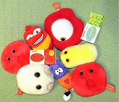 GIANT MICROBE Lot Educational Plush Drew Oliver Red Blood Cells COUGH Yeast ++