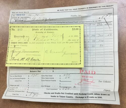 Vintage 1905 California Tulare County  Poll Tax Receipt Voting & Real Estate Tax