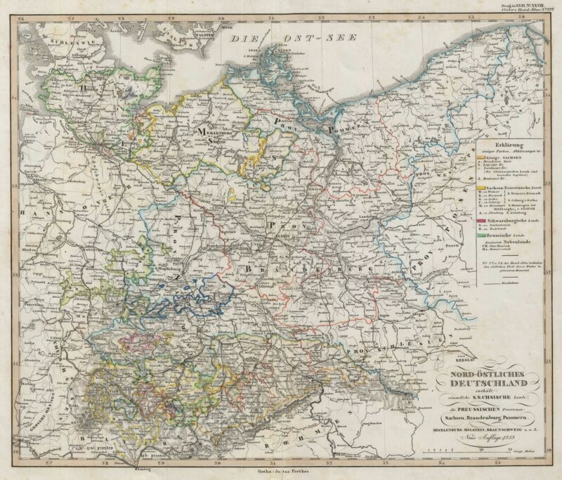 1853 Perthes Map of Northeastern Germany and Prussia