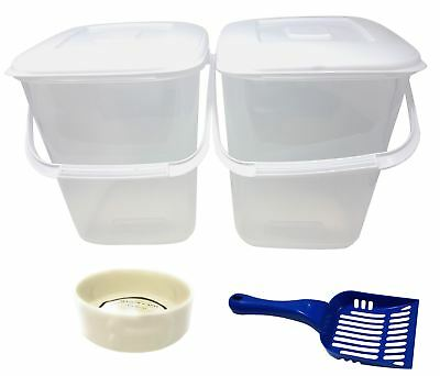 5 PC PET SET PLASTIC FOOD STORAGE TUBS BLUE SCOOP CREAM PORCELAIN PAW DOG BOWLS