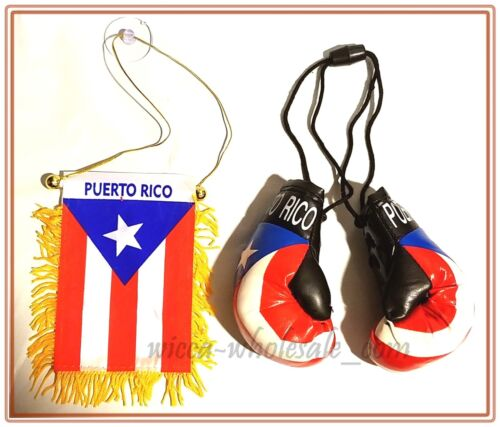 Puerto Rico Mini Banner 4 x 6 Flag + Pair Hanging Boxing Souvenir Boricua Rican