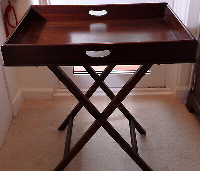 Antique mahogany butlers tray on folding stand