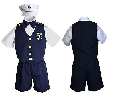 Infant Baby Toddler Navy White Sailor Formal Suit Hat Shorts Outfits New Born-3T - Toddler Sailor Suit